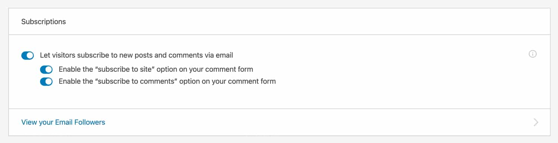 Aggiungete il sito e commentate gli abbonamenti con Jetpack.