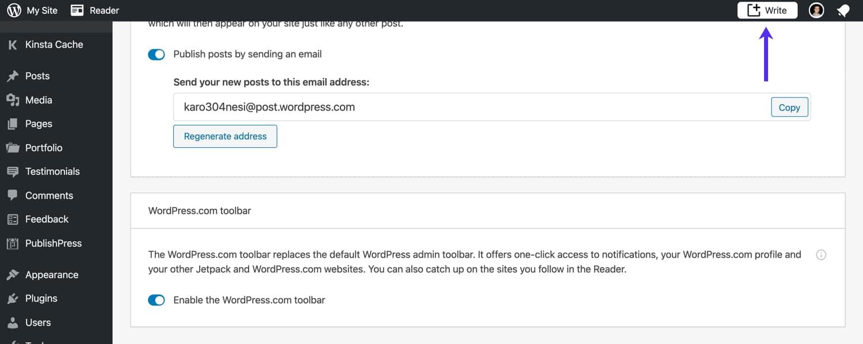 Barra degli strumenti di Jetpack WordPress.com.