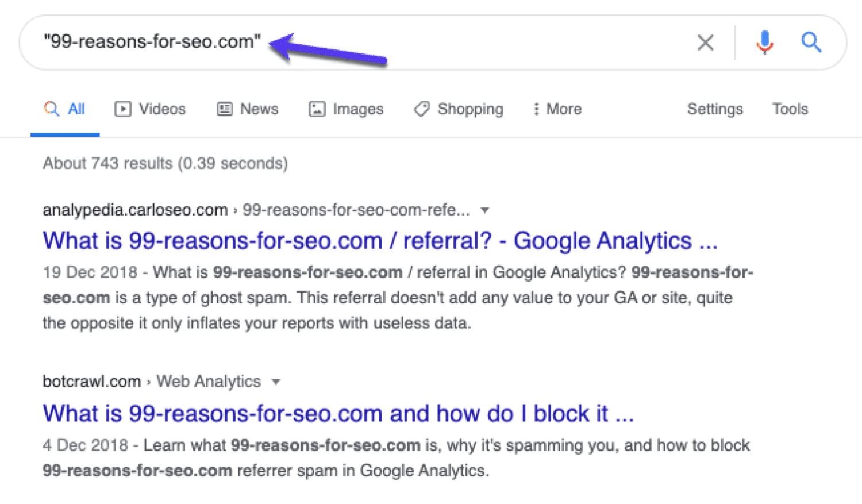 Cerca i siti spammer in Google per vedere se altri siti li hanno segnalati prima