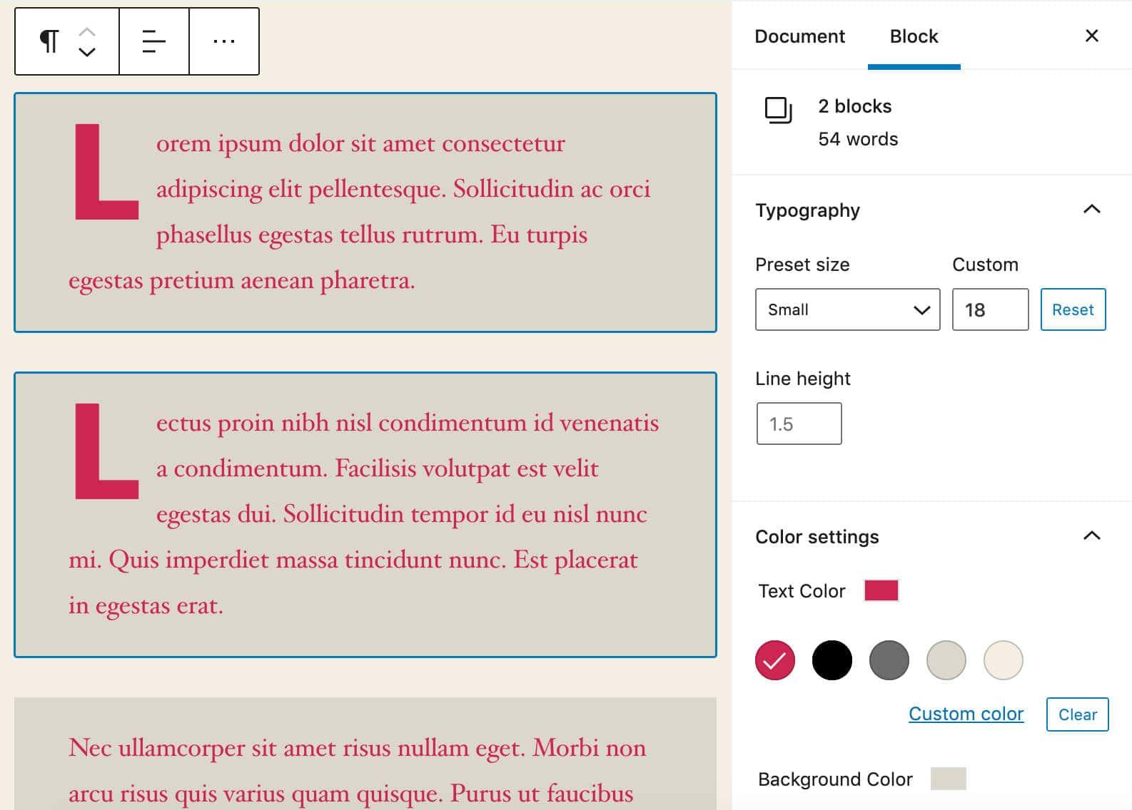 Formattazione di più blocchi in WordPress 5.5