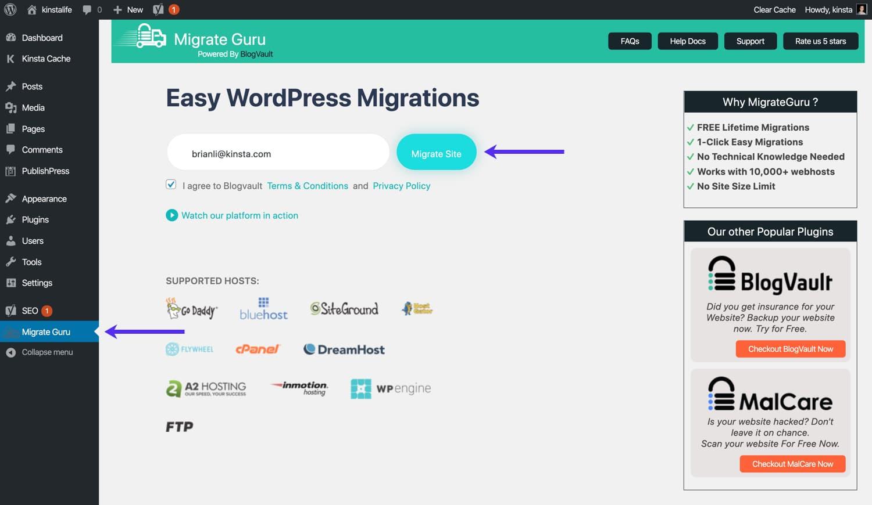 Inserite la vostra email e iniziate la migrazione in Migrate Guru.