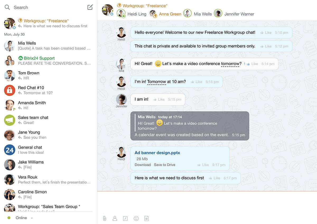 Interfaccia di un gruppo di lavoro su Bitrix 24