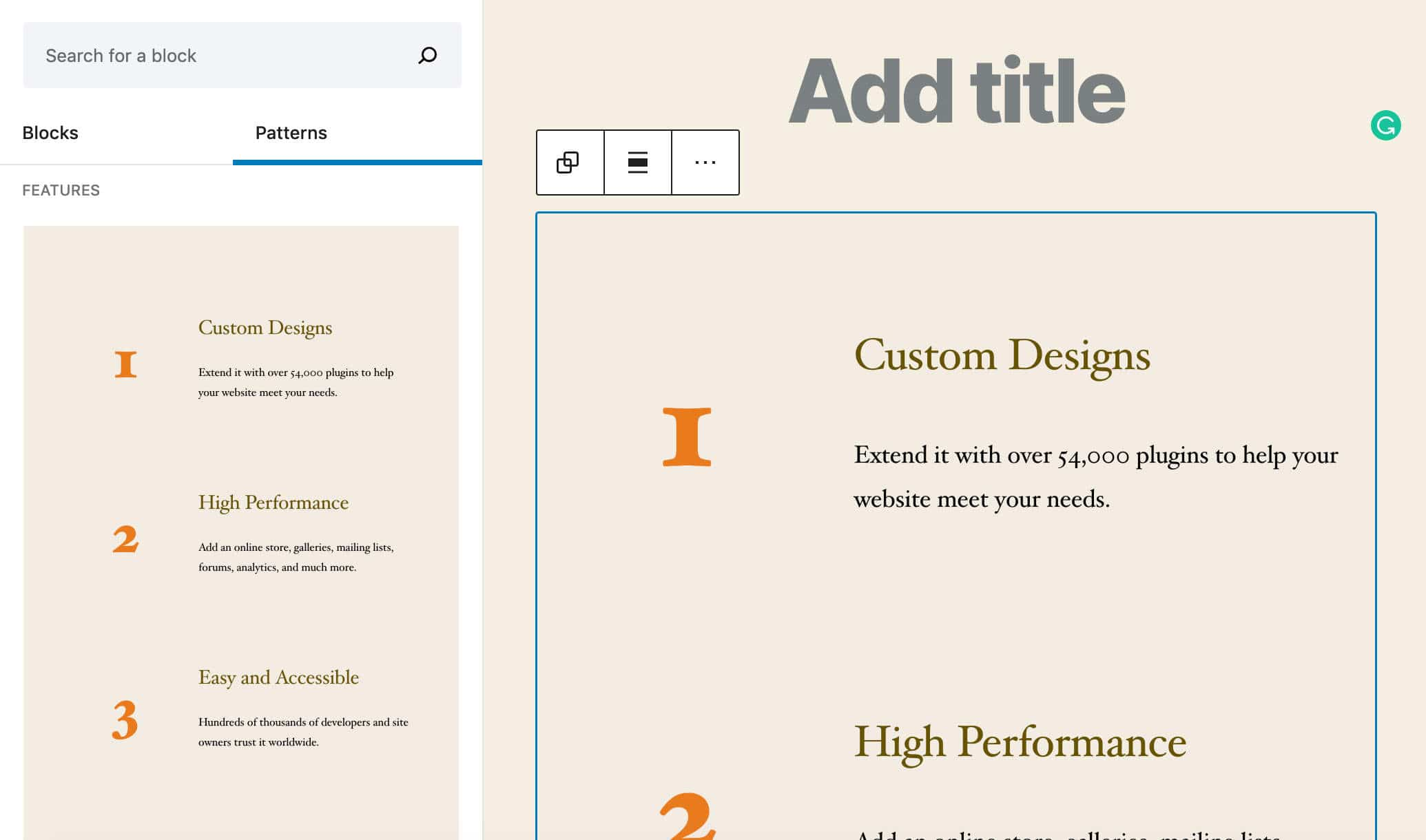 Il pattern delle Numbered features in WordPress 5.5
