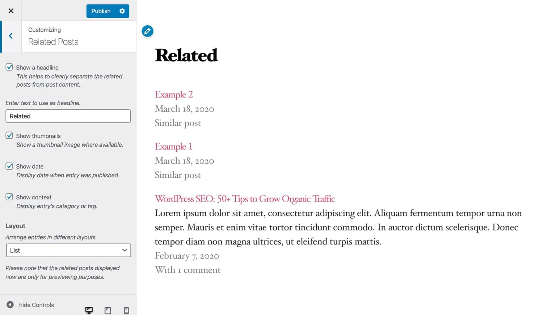 Personalizza il design degli articoli correlati.