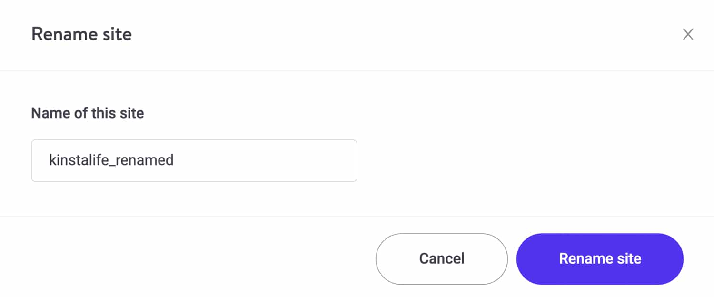 Scegliere un nuovo nome visualizzato per il sito Kinsta.