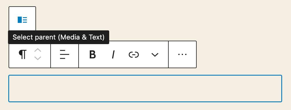 Il pulsante di selezione del blocco genitore in un blocco Media & Text