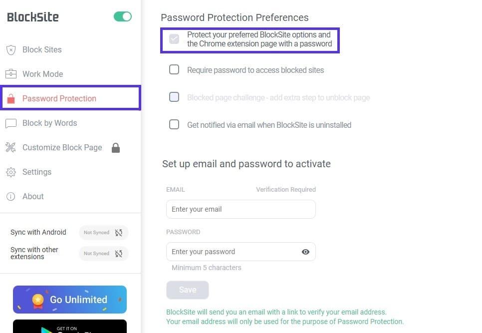 Aggiunta della protezione con password a BlockSite