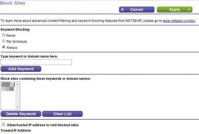 Blocco dei siti con le impostazioni del router