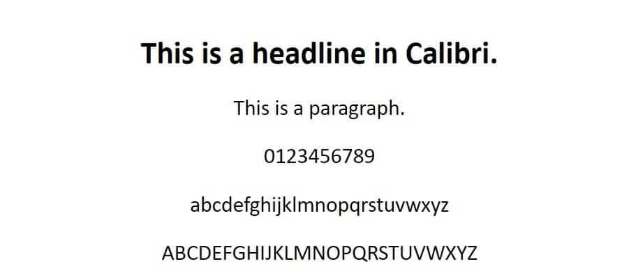 Esempio di font Calibri