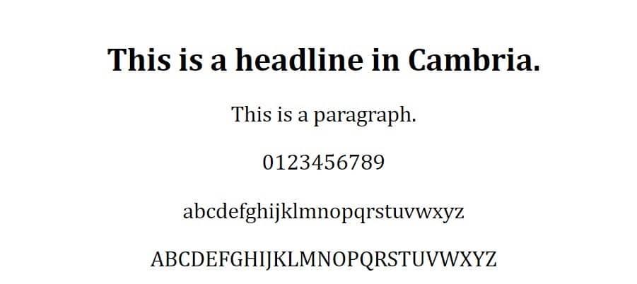 Esempio di font Cambria