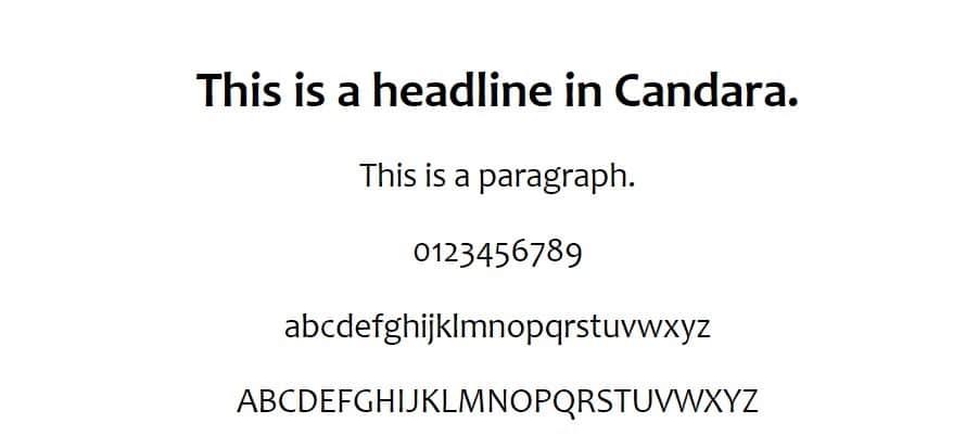 Esempio di font Candara