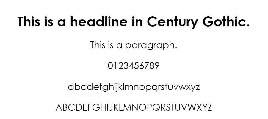 Esempio di font Century Gothic