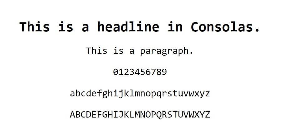Esempio di font Consolas