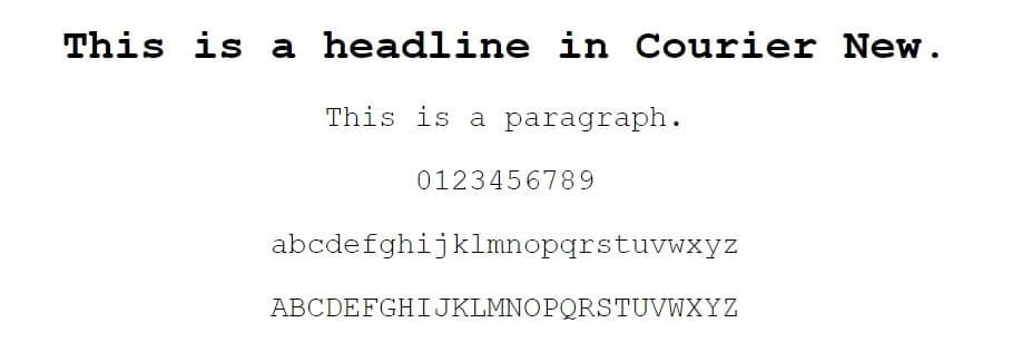Esempio di font Courier New