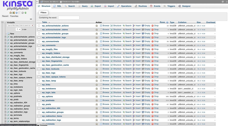 Un database importato con successo in phpMyAdmin