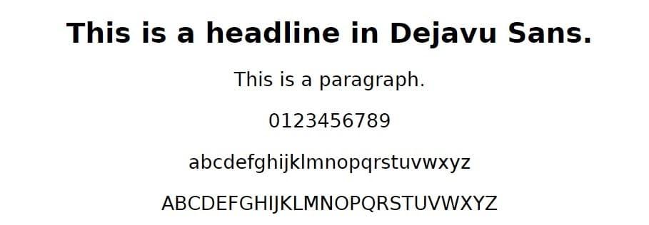 Esempio di font Dejavu Sans