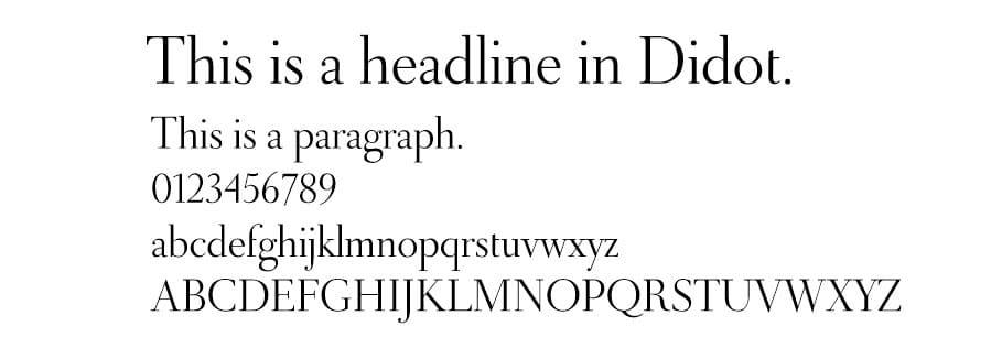 Esempio di font Didot