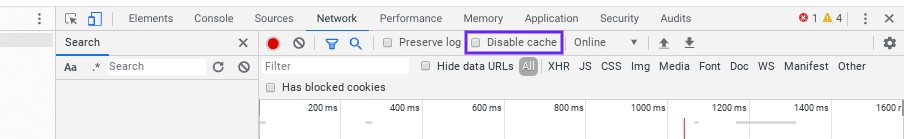 Disabilitare la cache di Chrome