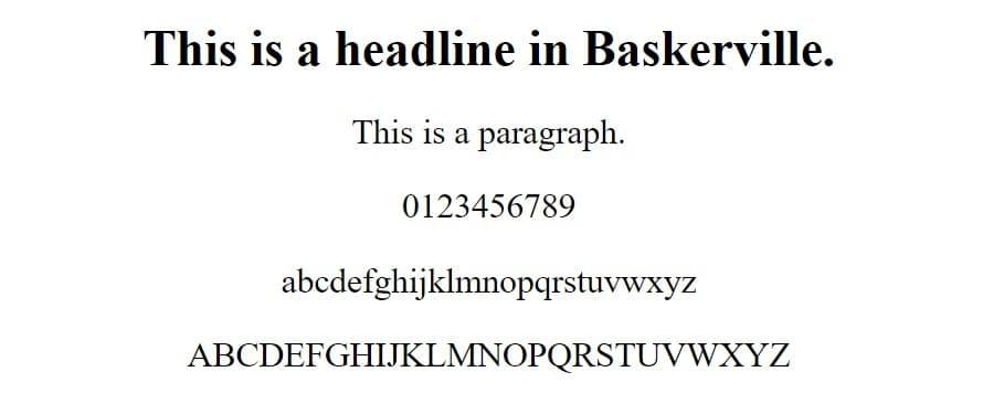 Esempio di font Baskerville