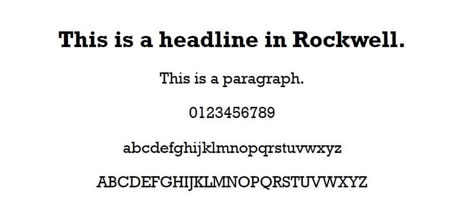 Esempio di font Rockwell