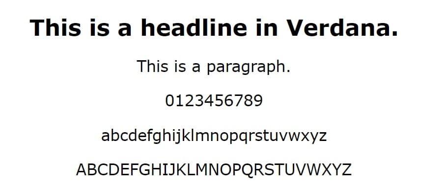 Esempio di font Verdana