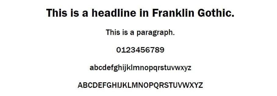 Esempio di font Franklin Gothic