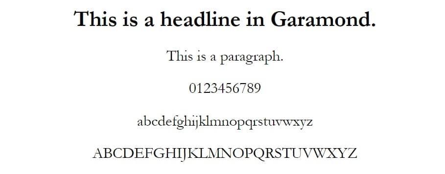 Esempio di font Garamond