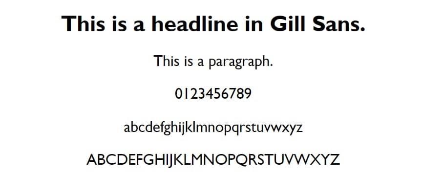 Esempio di font Gill Sans