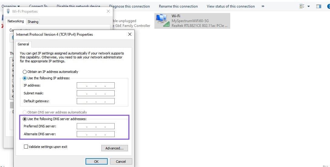 Il pannello degli indirizzi del server DNS in Windows