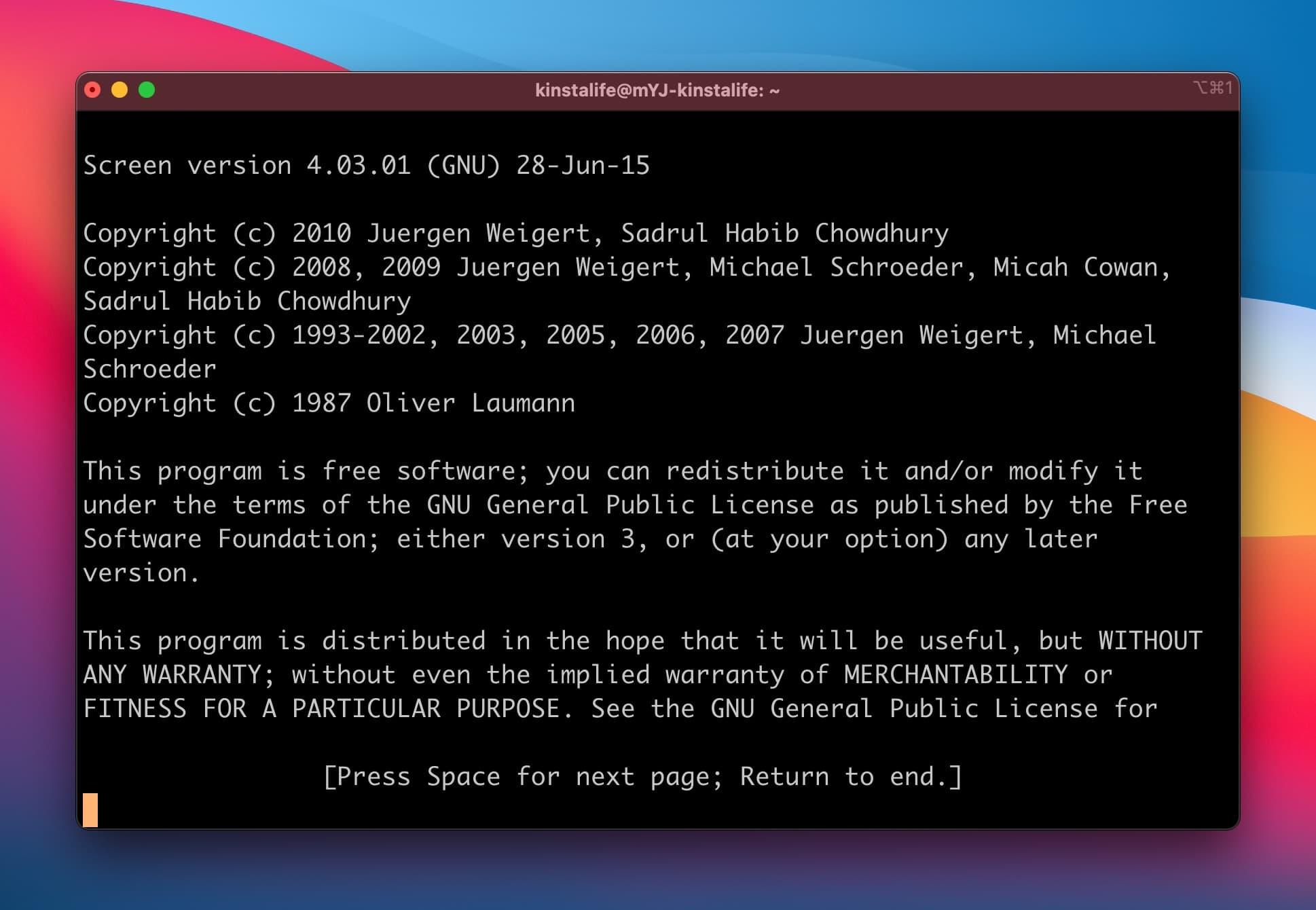 Iniziare una nuova sessione di Screen in Linux.