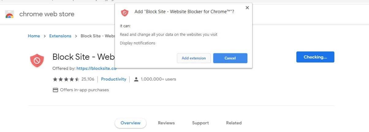Installazione dell'estensione BlockSite