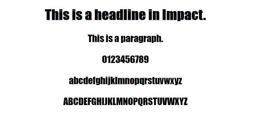 Esempio di font Impact