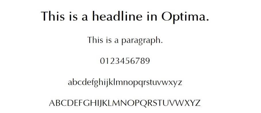 Esempio di font Optima