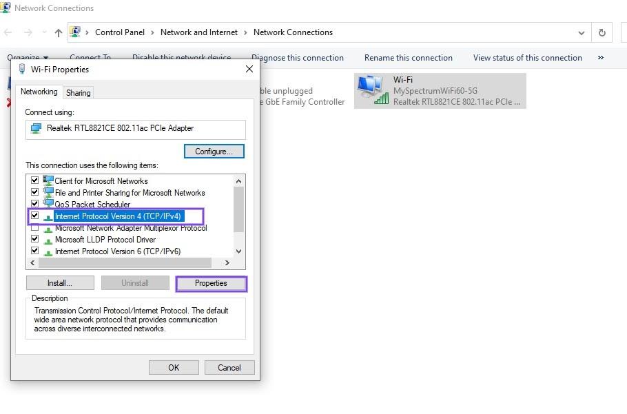 Il pannello delle proprietà Wi-Fi in Windows