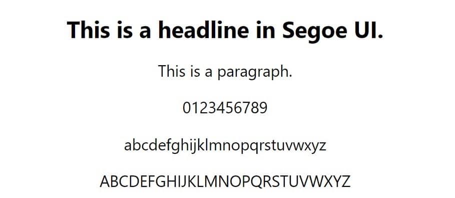 Esempio di font Segoe UI