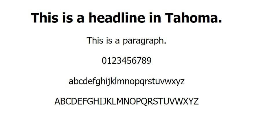 Esempio di font Tahoma