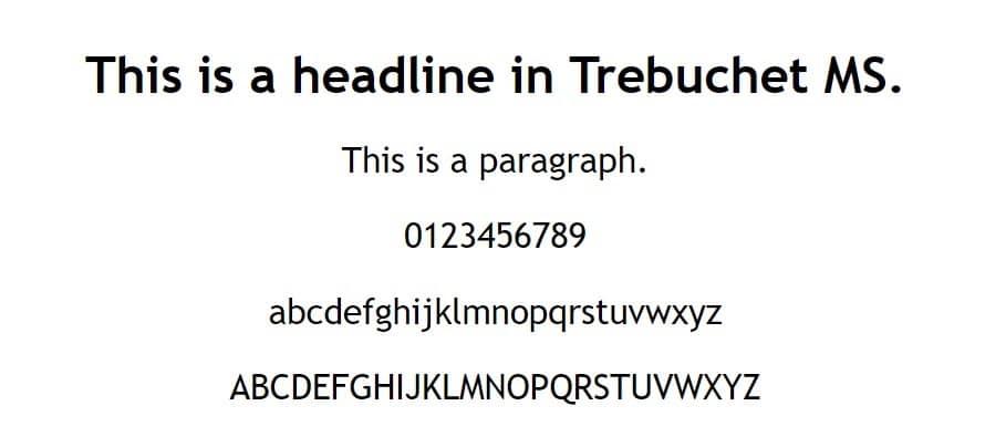 Esempio di font MS Trebuchet