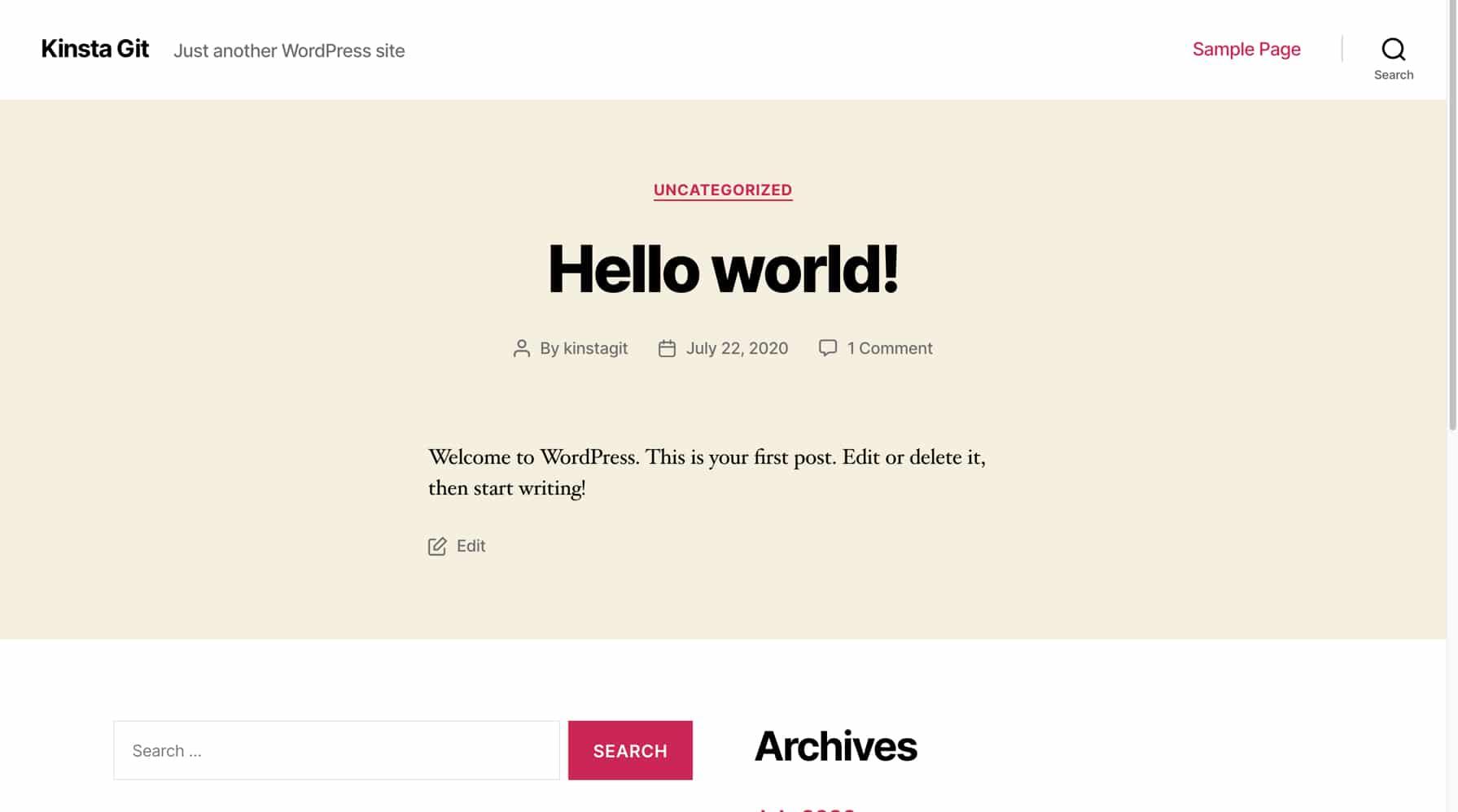 Una nuova installazione di WordPress.