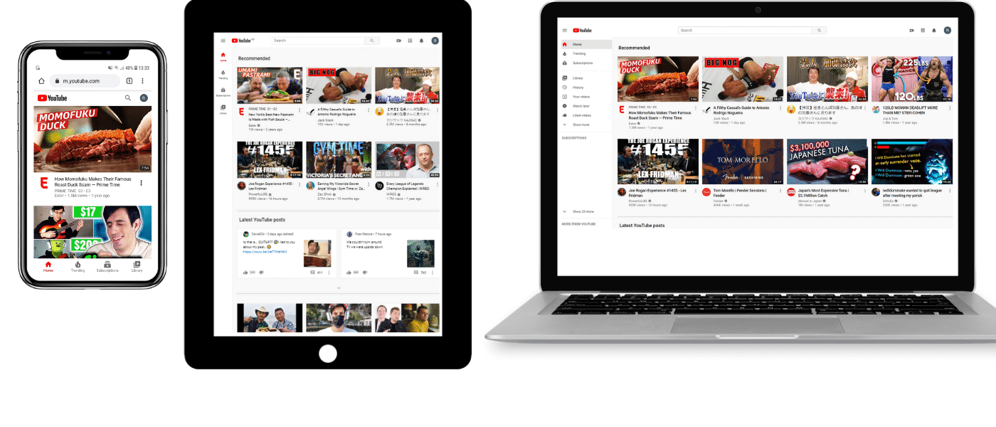 YouTube su cellulare, tablet e laptop