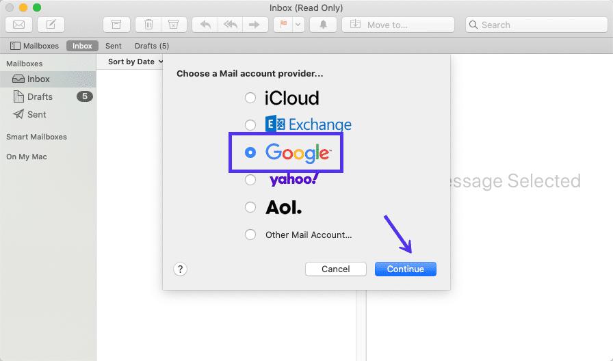 Aggiungere Gmail all'applicazione Mail