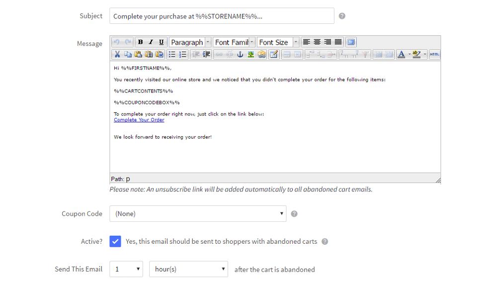 BigCommerce - editor di modelli di email