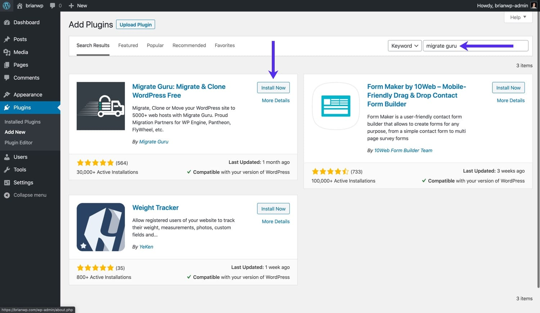 Installare Migrate Guru dal repository di WordPress.