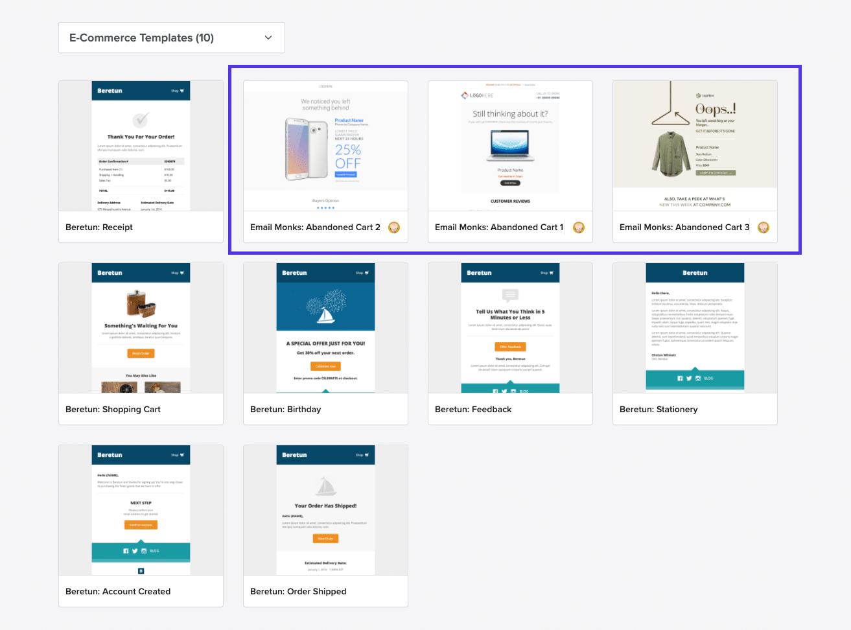 Litmus - modelli di email per il carrello abbandonato