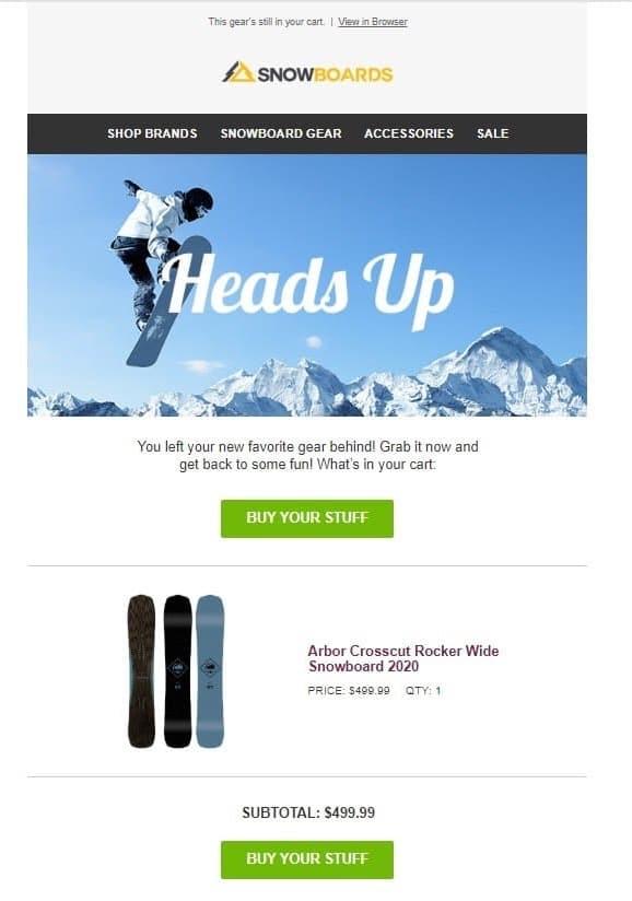Snowboards.com - Esempio di email per il carrello abbandonato