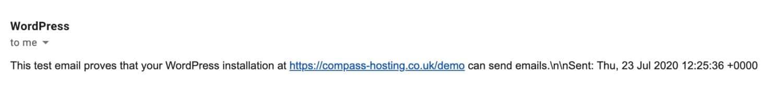 Email di prova ricevuta