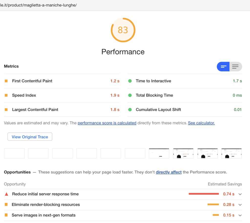 Le performance dell'ecommerce Aruba in Google Lighthouse