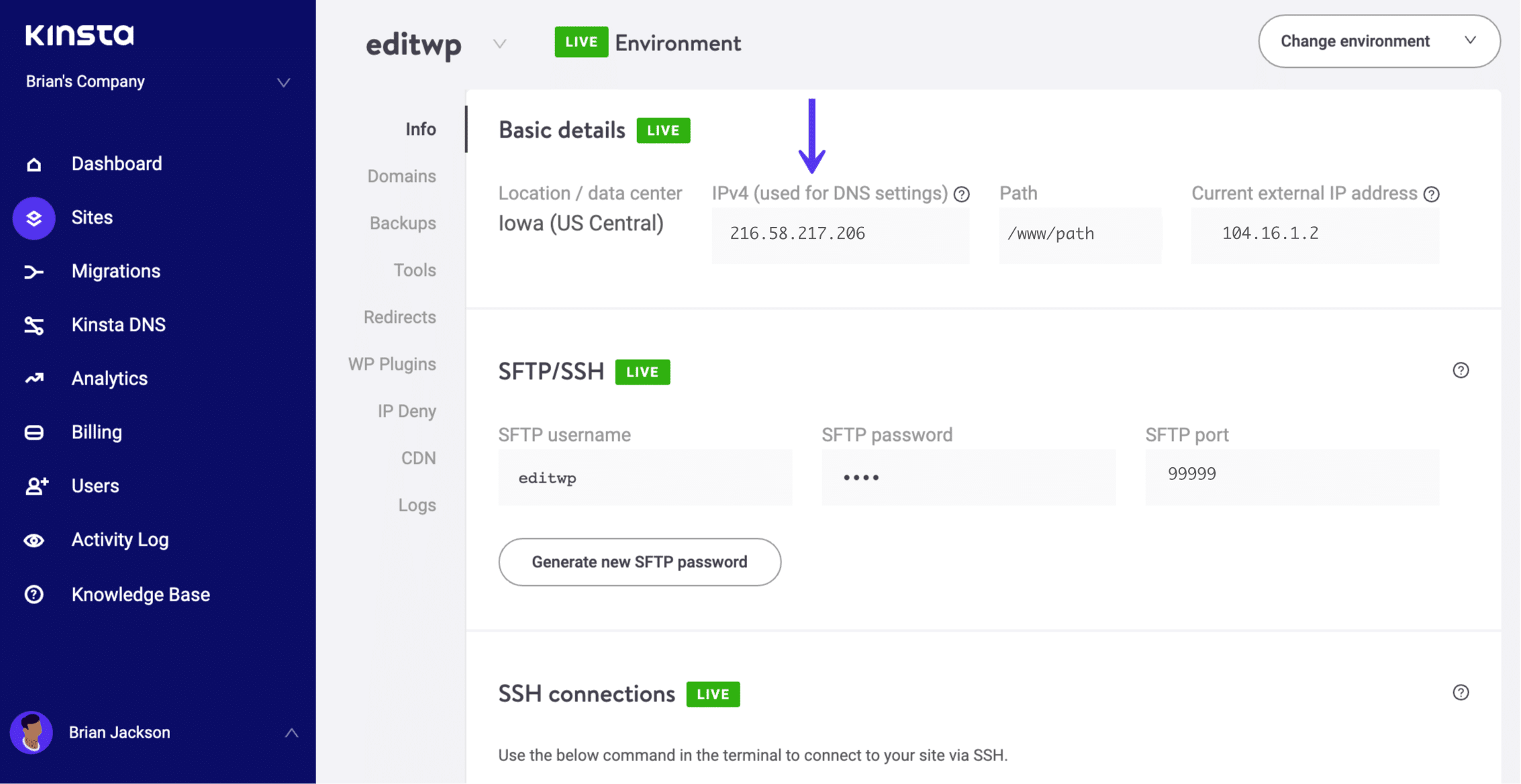 WordPressのIPv4アドレス