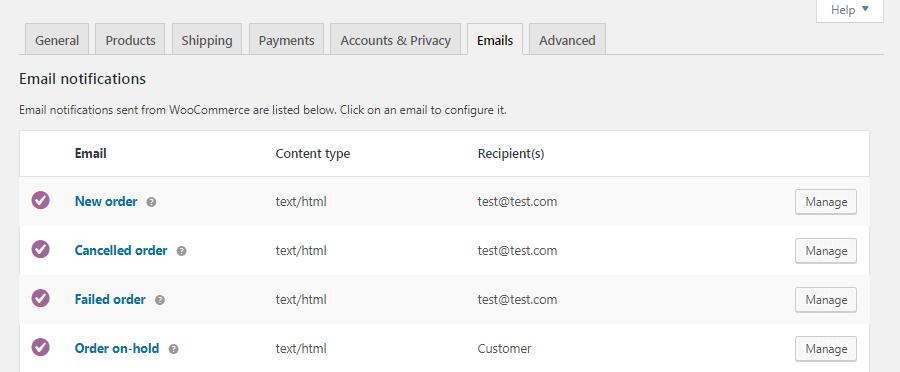 WooCommerceの「メール設定」画面