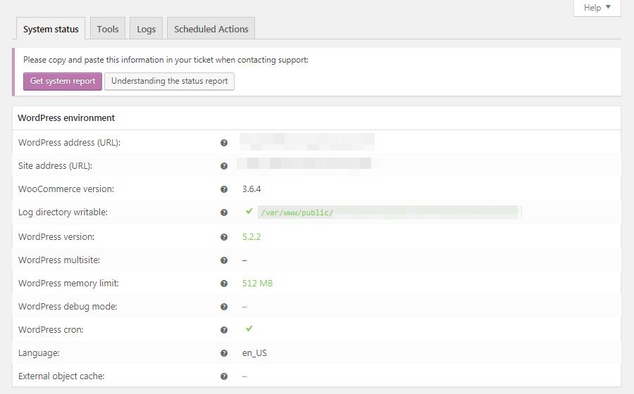 WooCommerceの「システムステータス」画面