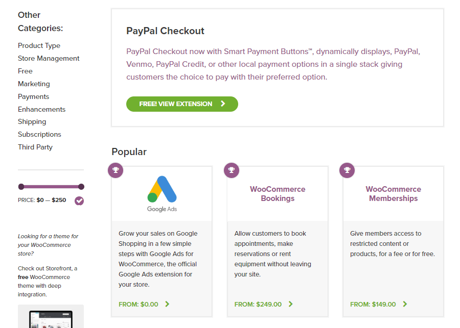 WooCommerce拡張機能ストア